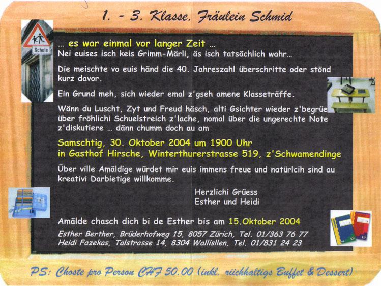 primarschule 1.-3. klasse bei 'fräulein schmid', Einladung
